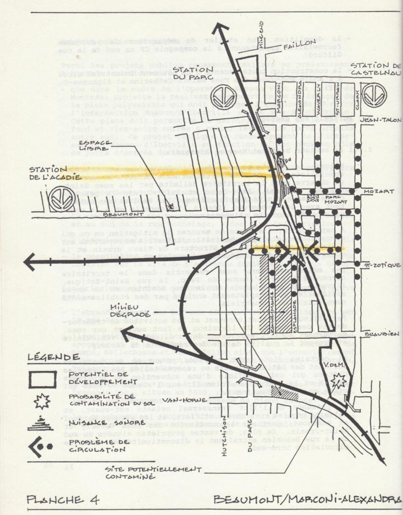 Carte tirée de l'ÉTUDE PORTANT SUR LES TERRAINS QUI BORDENT LES VOIES FERRÉES DU CP ENTRE LE PARC JARRY ET LA RUE NOTRE-DAME, réalisée pour le compte de la Ville de Montréal en 1991.