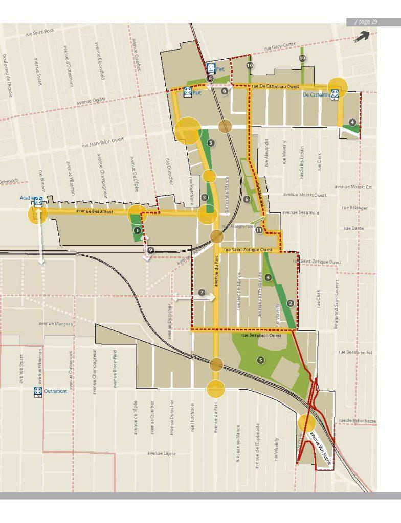 Carte des interventions structurantes proposées dans le cadre du PDUES. Le terrain visé pour la création d'un parc dans l'ancienne emprise ferroviaire est identifié avec le numéro 2.