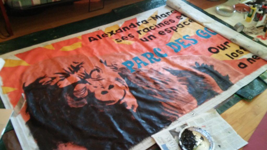 Création de la bannière des AmiEs du parc des Gorilles, La Brigada MTL