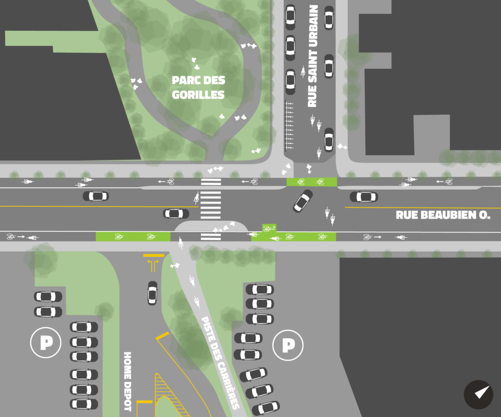 Proposition de reconfiguration de l'intersection par Michael Seth Wexler, Copenhagenize Design Co.