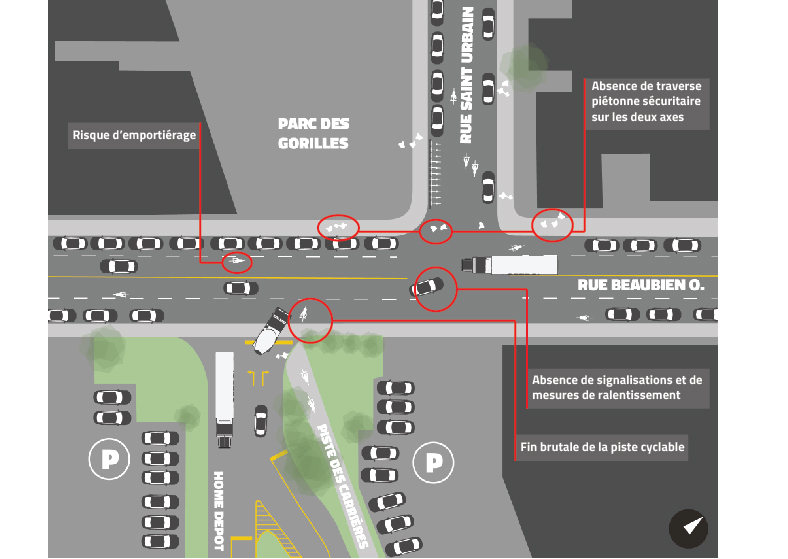 Plan de l'intersection actuelle par Michael Seth Wexler, Copenhagenize Design Co.
