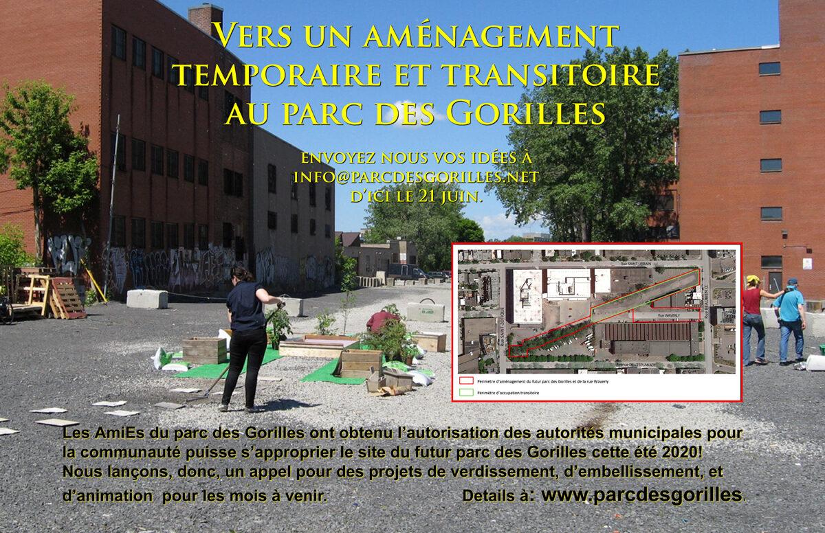 Vers un aménagement temporaire et transitoire au parc des Gorilles en 2020!
